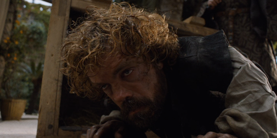 Tyrion's not trying to hear anything before getting a drink in him...Or after.