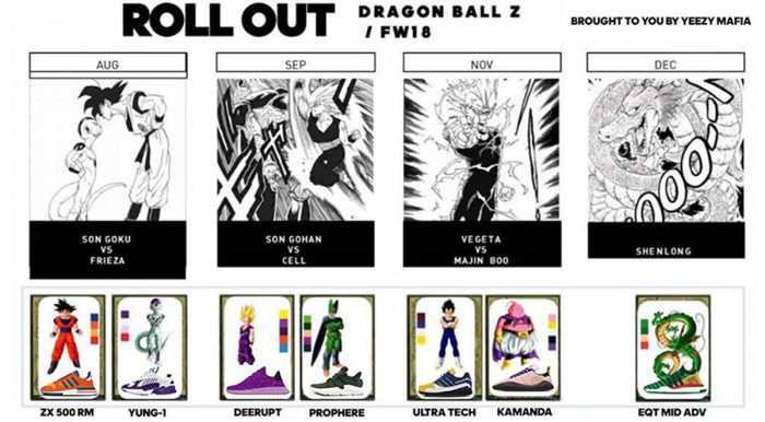 finest selection 1d8f5 5e53d Online retailer Yeezy Mafia made news throughout the tail end of 2017 with  the announcement of a line of sneakers dedicated to Dragon Ball Z. The ...